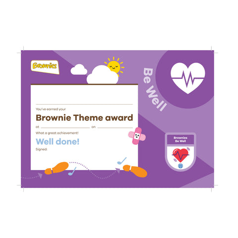 Theme Award - Brownies Be Well Certificate