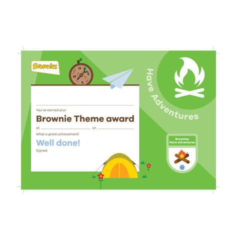 Theme Award - Brownies Have Adventures Certificate