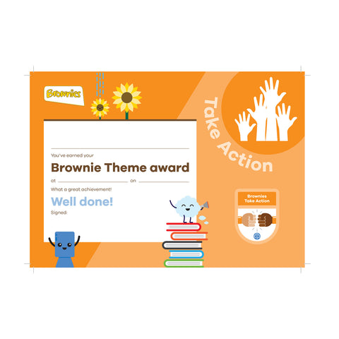 Theme Award - Brownies Take Action Certificate