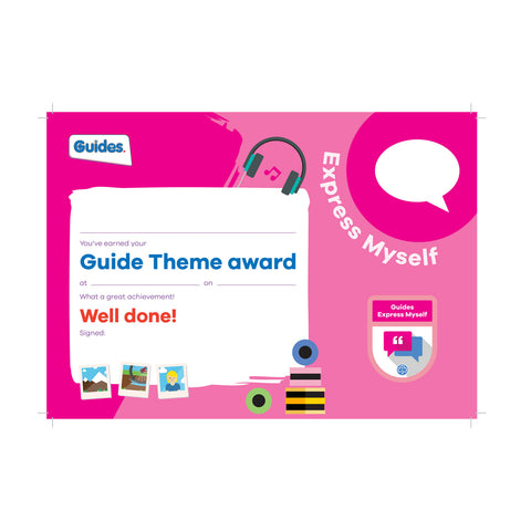 Theme Award - Guides Express Myself Certificate
