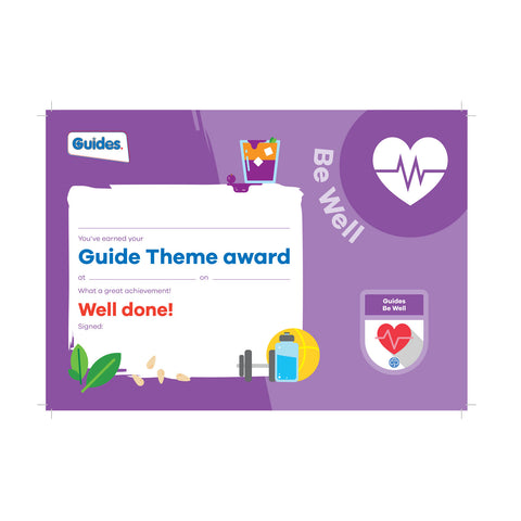 Theme Award - Guides Be Well Certificate