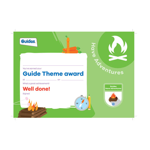 Theme Award - Guides Have Adventures Certificate