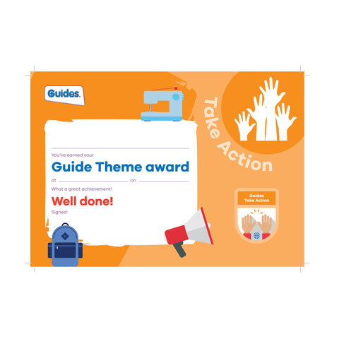 Theme Award - Guides Take Action Certificate