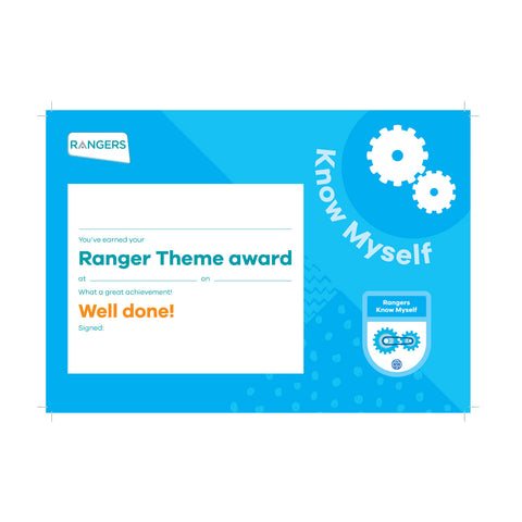 Theme Award - Rangers Know Myself Certificate