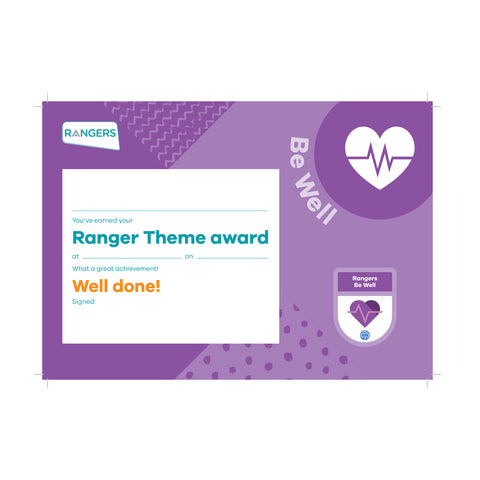 Theme Award - Rangers Be Well Certificate