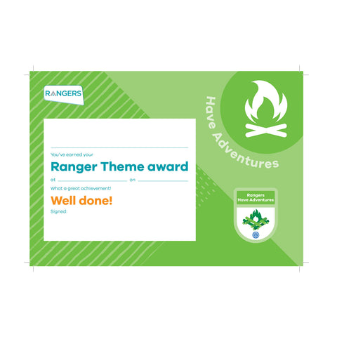 Theme Award - Rangers Have Adventures Certificate
