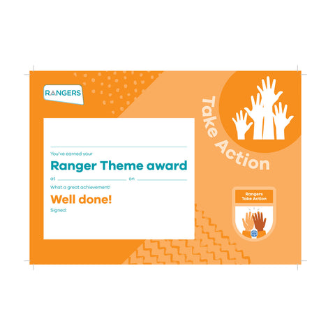 Theme Award - Rangers Take Action Certificate