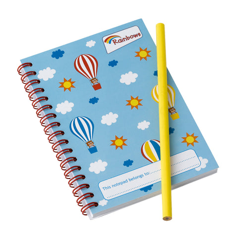 Rainbows Notepad and Pencil Set Balloons
