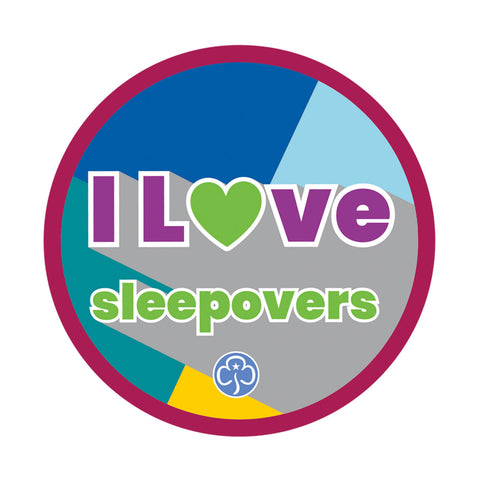 I Love Sleepovers Woven Badge