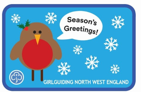 Girlguiding North West England Christmas Robin Woven Badge