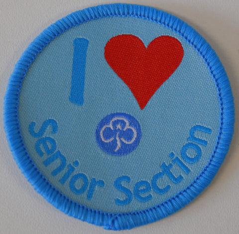 I Love The Senior Section Woven Badge