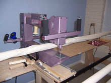 "Load image into Gallery viewer, Nolting 20"" FunQuilter with Stitch Regulator on a 10' Hinterberg Stretch Frame Preloved"