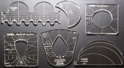 6 Piece Template Sampler Set for Domestic Machines - Free Shipping