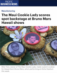 The Maui Cookie Lady scores spot backstage at Bruno Mars Hawaii shows