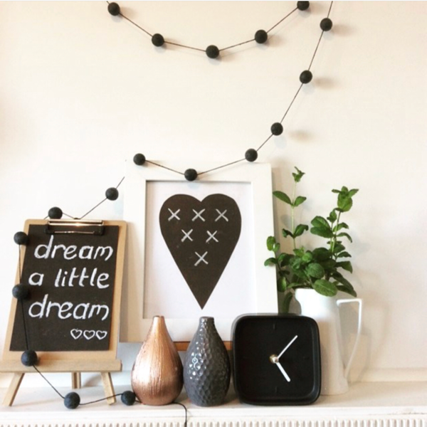 Elk and Earth Jett - Black Felt Garland
