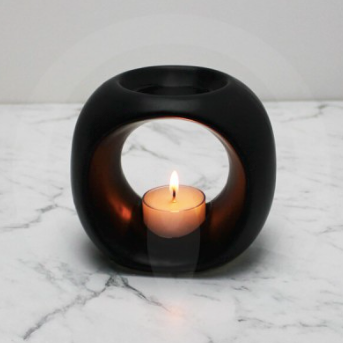 Matte Black Ceramic Essential Oil / Soy Melt Burner - Large
