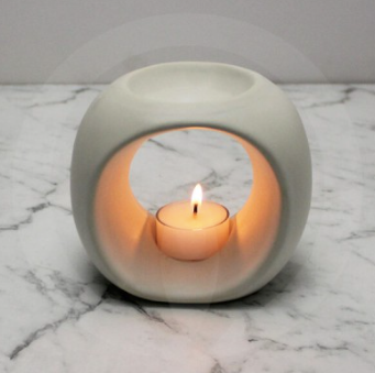 Matte White Ceramic Oil / Soy Melt Burner - Large