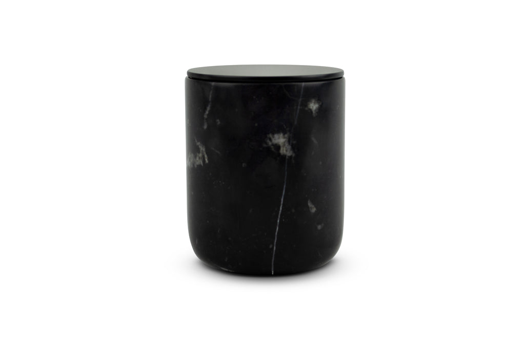 Black Forest Carrara Marble Candle - Black Metal Lid
