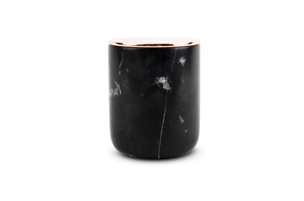 Black Forest Carrara Marble Candle - Rose Gold/Copper Metal Lid