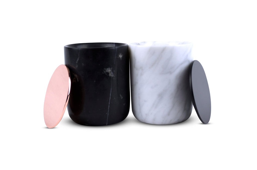 Classic White Carrara Marble Candle - Black Metal Lid
