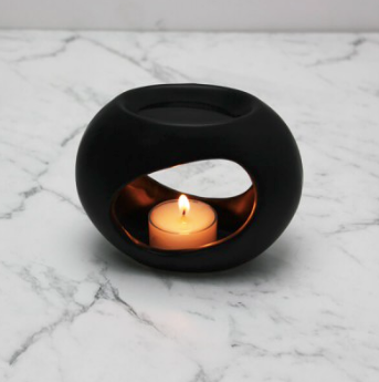 Matte Black Ceramic Essential Oil / Soy Melt Burner - Small