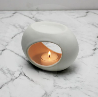 Matte White Ceramic Oil / Soy Melt Burner - Small