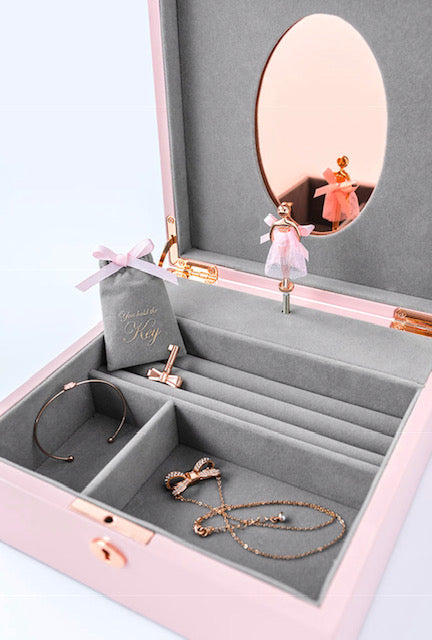Ted Baker - Large Lacquer Hero Jewellery Box with Musical Ballerina, Pink
