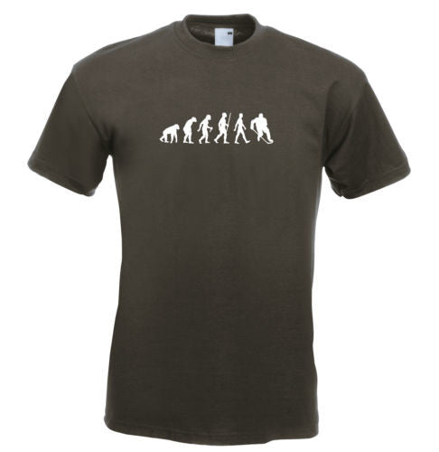 Mens evolution t shirt ape to man evolution ice hockey evolution t shirt