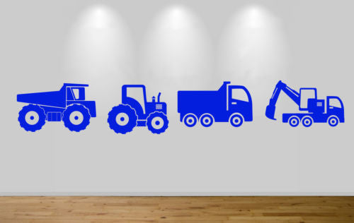 Group of trucks wall stickers decal boys girls bedroom