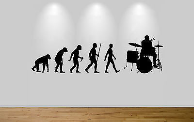 Drummer Evolution Wall Sticker Decal Bedroom Art Drumming Ape to Man - Juko