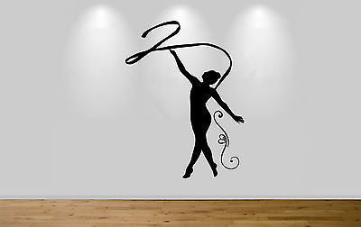 Juko Gymnast with Ribbon Wall Sticker Gymnastic Decal Gym Girl 1252 Wall Art - Juko