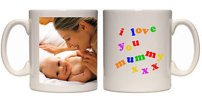 Christmas gift I love you Mummy personalised mug custom xmas present your photo - Juko
