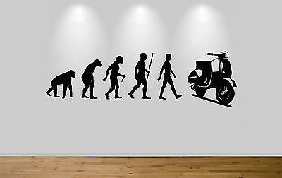 Vespa Evolution Wall Sticker Decal Bedroom Art Lambretta Evo Ape to Man