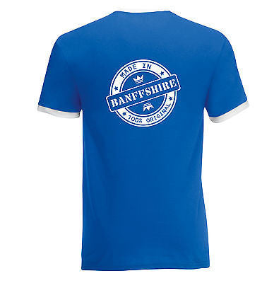 Juko Made In Banffshire Contrast Ringer T Shirt Retro Style T.