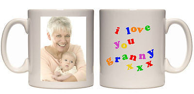 Christmas gift I love you granny personalised mug custom xmas present your photo - Juko