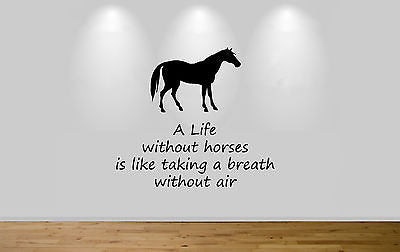 Juko Horse Wall Sticker Rider Quote A Life Without Horses Decal Wall Art