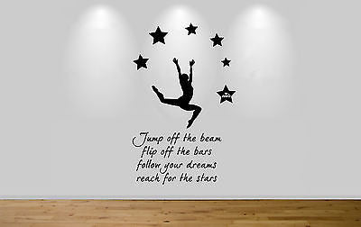 Juko Gymnast Wall Sticker Quote Jump Off The Beam Flip Off The Bars Gym Decal