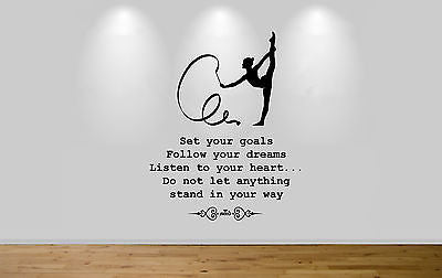 Juko Gymnastic Quote Set Your Goals Follow Your Dreams Gym Girl Wall Sticker