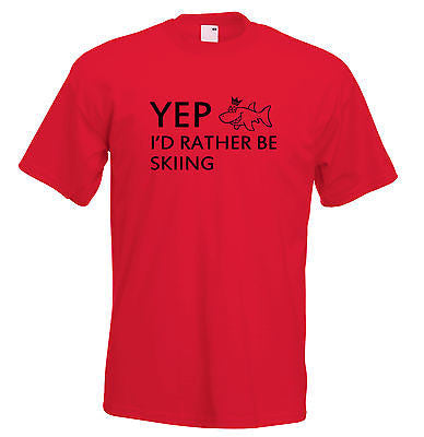 Juko Kids Yep I'd Rather Be Skiing Funny T Shirt