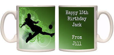 Football boys name personalised mug birthday gift teenager gift 14th 15th 16th