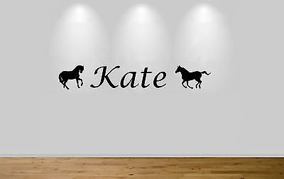 Juko Personalised Horse Rider Wall Sticker Boys Girls Name Custom Decal