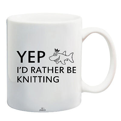 Juko Yep I'd Rather Be Knitting Funny Mug