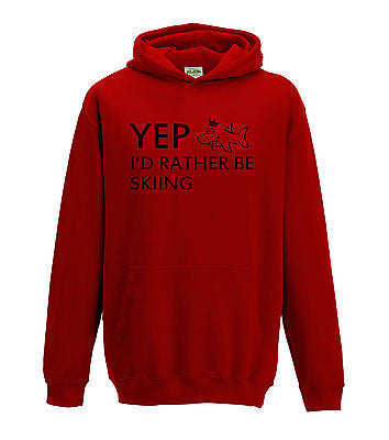 Juko Yep I'd Rather Be Skiing Hoodie Funny Hoody