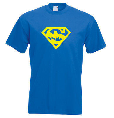 Superbat t shirt superman and batman logo t shirt super hero t shirt