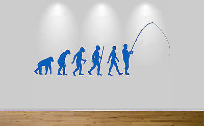 Fishing Evolution Wall Sticker Decal Bedroom Wall Art Fly Fish Ape to Man - Juko