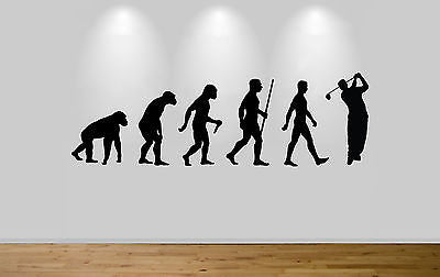 Golf Evolution Wall Sticker Decal Bedroom Wall Golfer Evo Ape to Man - Juko