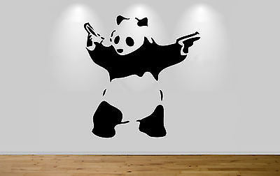 Banksy panda wall sticker decal wall art banksy graffiti shooting panda sticker - Juko