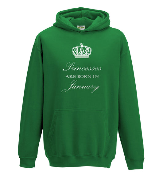 Juko Princesses Are Born In January Hoodie Girls Princess Hoody