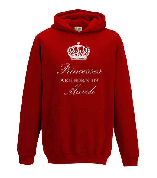 Juko Princesses Are Born In March Hoodie Girls Princess Hoody
