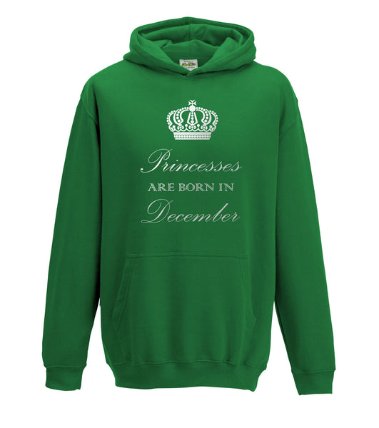 Juko Childrens Princesses Are Born In December Hoodie Girls Princess Hoody.